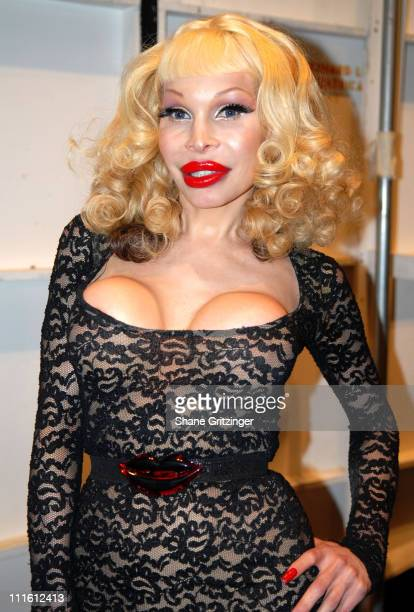 Amanda Lepore during MercedesBenz Fashion Week Fall 2007 Heatherette Front Row and Backstage at The Tent in New York City NY United States
