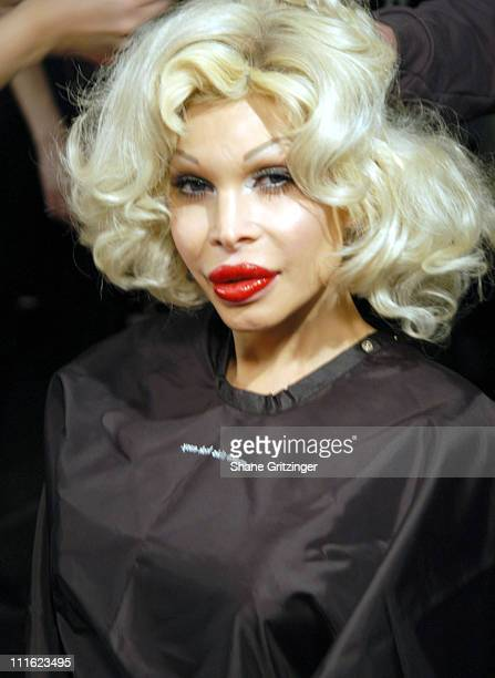 Amanda Lepore during Olympus Fashion Week Fall 2006 Heatherette Backstage at Bryant Park The Tent in New York City NY United States