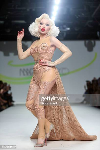 Amanda Lepore walks the runway dring Marco Marco September 2017 New York Fashion Week on September 7 2017 in New York City