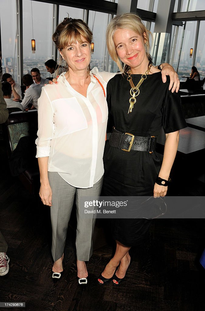 Amanda Levete (L) and Justine Simons attend the London Design Festival dinner hosted by Ben Evans at Aqua Shard on July 23, 2013 in London, England.