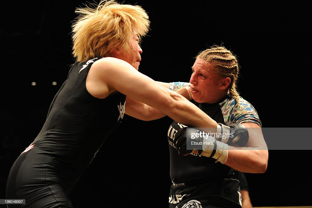 Amanda Lucas (R), daughter of film director George Lucas, fights against Yumiko Hotta during the DEEP57 at Tokyo Dome City Hall on February 18, 2012 in Tokyo, Japan.