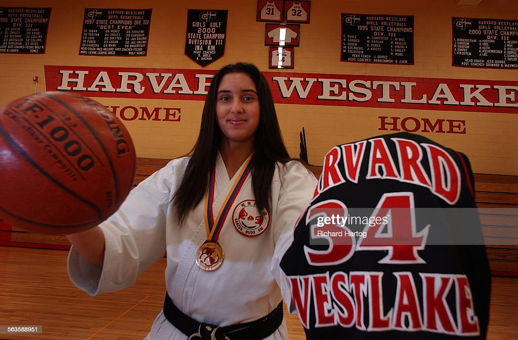 Amanda Maddahi a center for the Harvard Westlake basketball team is also a black belt in karate She's photographed in the gym at Harvard Westlake...