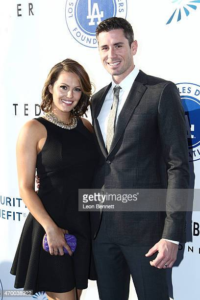 Amanda McCarthy and Brandon McCarthy attend the Los Angeles Dodgers Foundation Inaugural Blue Diamond Gala at Dodger Stadium on April 16 2015 in Los...