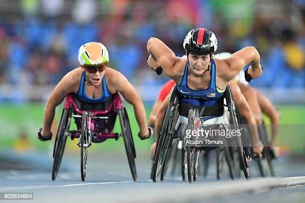 Amanda McGrory and Chelsea McClammer of the USA compete in the women's 5000m T54 final during the day 8 of the Rio 2016 Paralympic Games at the...