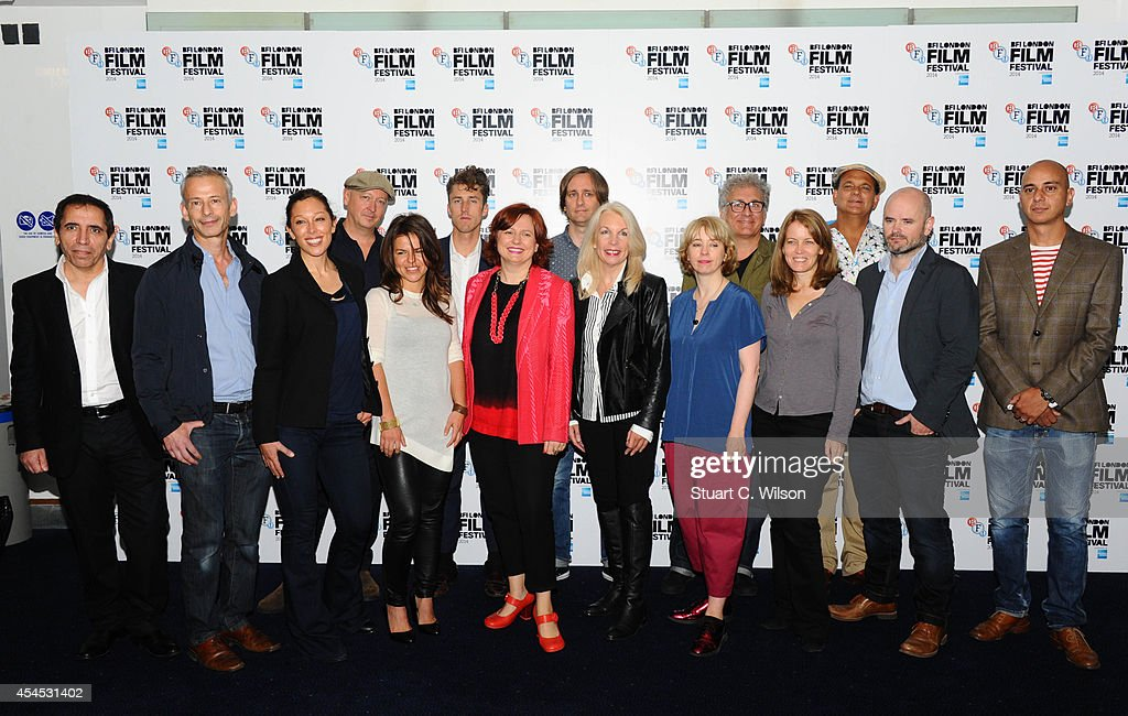 Amanda Nevill and Clare Stewart from the BFI pose with film makers including Rebecca Johnson, Corinna McFarlane, James Kent, Mohsen Makhmalbaf, Daniel Wolfe, Edward Lovelace, Randall Wright, John Wright, Morgan Matthews, Simon Baker, Stewart Pound, Patrick Tarrant, Carol Morley and Ewa Banaszkiewicz during the BFI London Film Festival press launch at Odeon Leicester Square on September 3, 2014 in London, England.