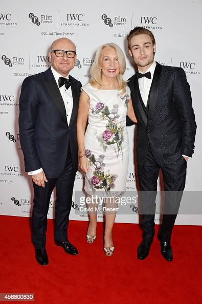 Amanda Nevill CEO of the BFI Georges Kern CEO IWC Schaffhausen and Douglas Booth attend the BFI London Film Festival IWC Gala Dinner in honour of the...