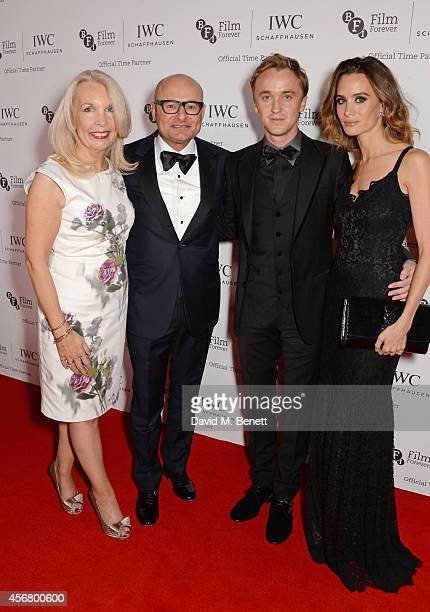 Amanda Nevill CEO of the BFI Georges Kern CEO IWC Schaffhausen Tom Felton and Jade Olivia attend the BFI London Film Festival IWC Gala Dinner in...
