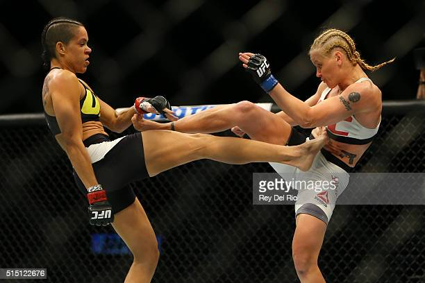 Amanda Nunes kickes Valentina Shevchenko during UFC 196 at the MGM Grand Garden Arena on March 5 2016 in Las Vegas Nevada