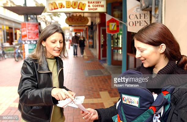 Amanda Parish with baby Zenith are leafleted byAlliance leader Laila Harre on Wellington's Cuba Street as part of the Alliance Tertiary Education...