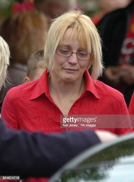 Amanda Peak the mother of the two boys who were killed in a car crash on the M6 mourns her sons at their funeral in Our Lady of St Lourdes chapel...