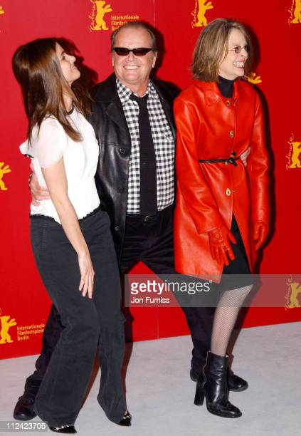 Amanda Peet Jack Nicholson and Diane Keaton during 2004 Berlin Film Festival 'Something's Gotta Give' Photo Call at Hyatt Hotel in Berlin Great...