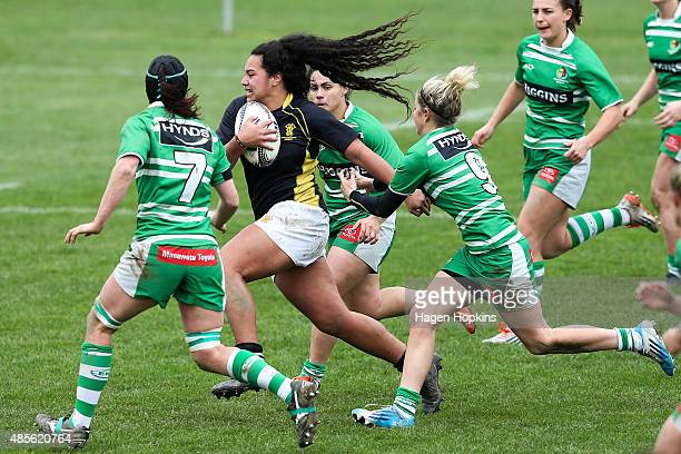 Amanda Rasch of Wellington attempts to beat the Manawatu defence during the round two Women's Provincial Championship match between Wellington and...