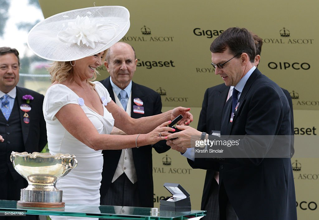 Amanda Redman presents the prizes to Aidan O'Brien for winning the Chesham Stakes with Churchill on day 5 of Royal Ascot at Ascot Racecourse on June 18, 2016 in Ascot, England.