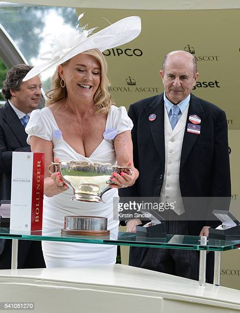 Amanda Redman presents the prizes to Michael Tabor for winning the Chesham Stakes with Churchill on day 5 of Royal Ascot at Ascot Racecourse on June...