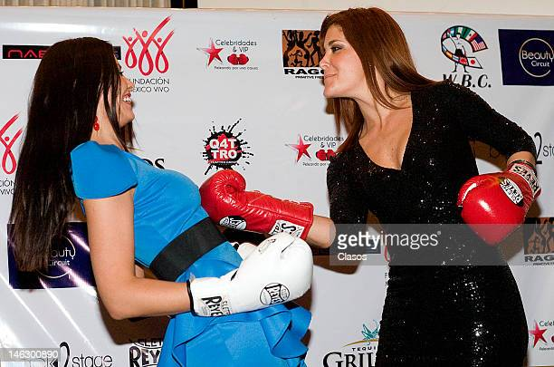 Amanda Rosa Da Silva and Tania Riquenes pose for a picture during a press conference to present the fights in benefit of Fundacion Mexico Vivo and...