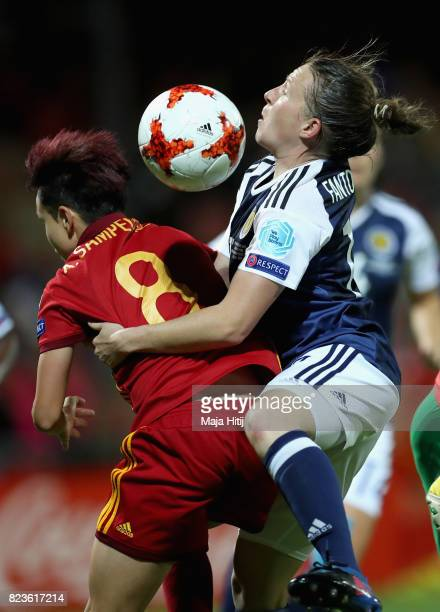 Amanda Sampedro of Spain and Frankie Brown of Scotland battle for possession during the Group D match between Scotland and Spain during the UEFA...