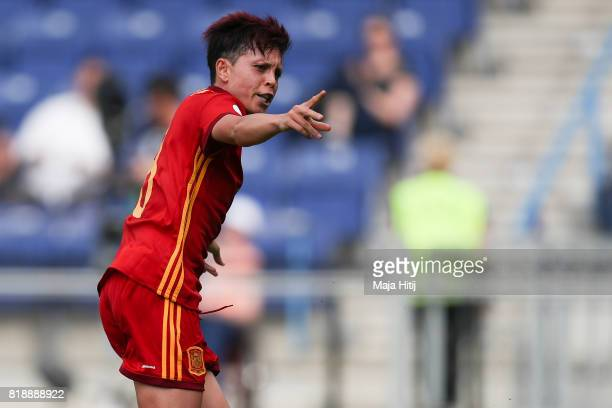 Amanda Sampedro of Spain celebrates after scoring her team's second goal during the Group D match between Spain and Portugal during the UEFA Women's...