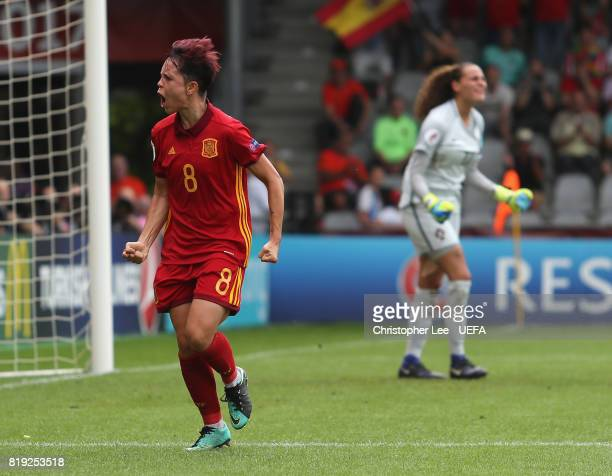 Amanda Sampedro of Spain celebrates scoring their second goal during the UEFA Women's Euro 2017 Group D match between Spain and Portugal at Stadion...