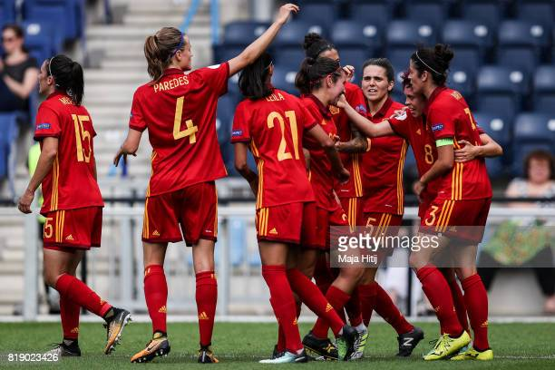Amanda Sampedro of Spain celebrates with the team after scoring her sides second goal during the Group D match between Spain and Portugal during the...