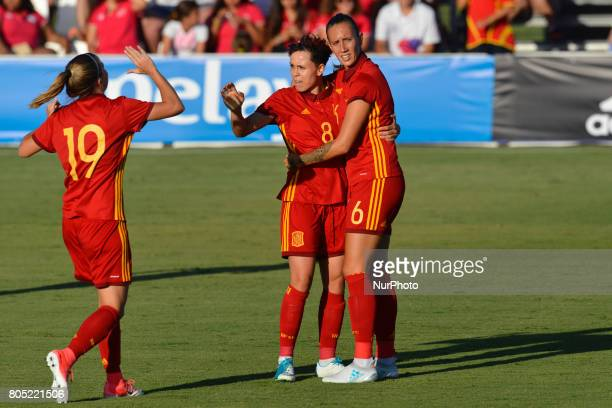 Amanda Sampedro Virginia Torrecilla during a friendly match between the national women's teams of Spain vs Belgium in Pinatar Arena Murcia Spain...