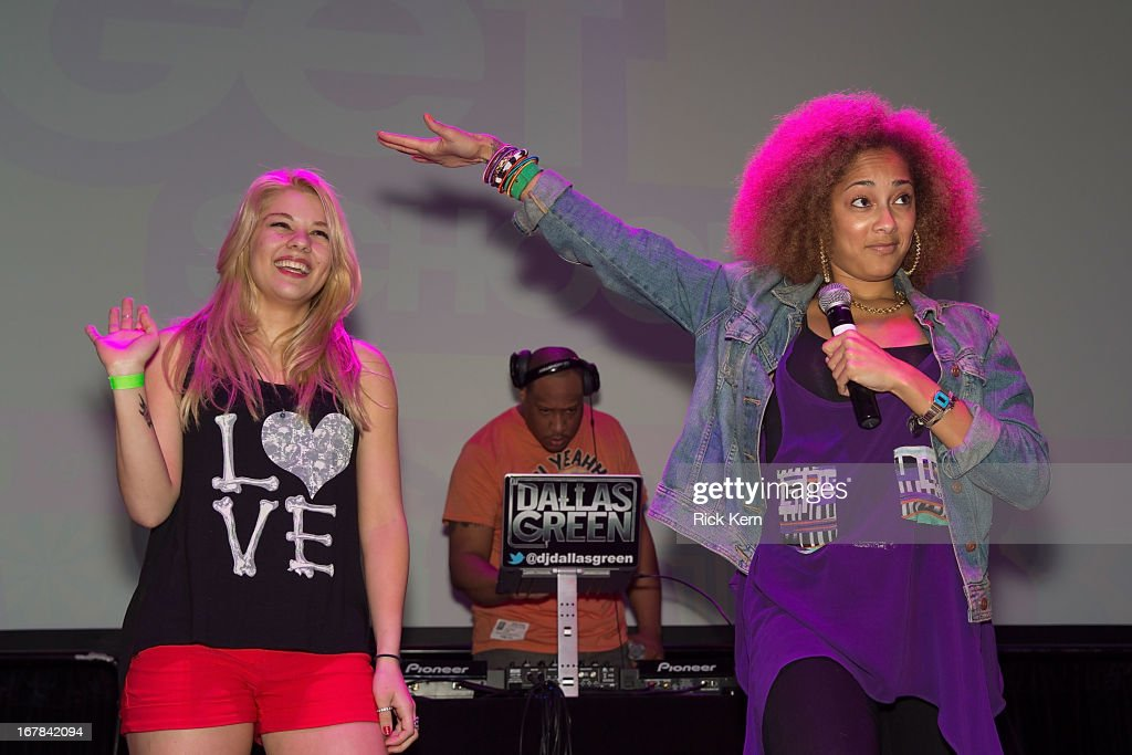 Amanda Seales (R) and DJ Dallas Green (C) attend the Get Schooled Victory Tour at Stony Point High School on April 30, 2013 in Round Rock, Texas.