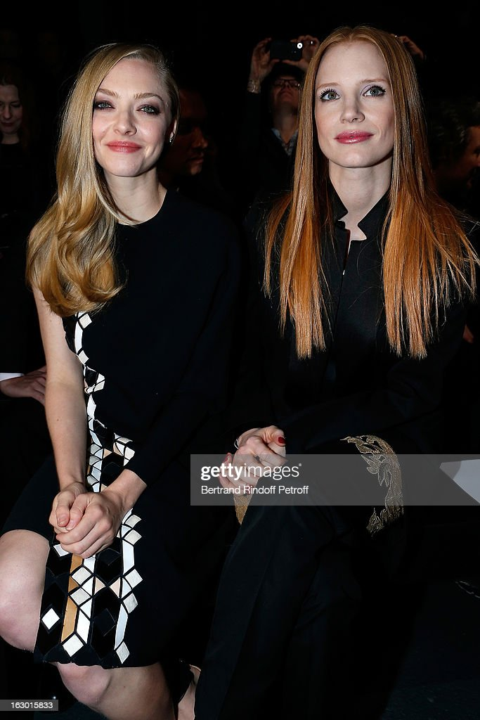 <a gi-track='captionPersonalityLinkClicked' href=/galleries/search?phrase=Amanda+Seyfried&family=editorial&specificpeople=216619 ng-click='$event.stopPropagation()'>Amanda Seyfried</a> and <a gi-track='captionPersonalityLinkClicked' href=/galleries/search?phrase=Jessica+Chastain&family=editorial&specificpeople=653192 ng-click='$event.stopPropagation()'>Jessica Chastain</a> attend the Givenchy Fall/Winter 2013 Ready-to-Wear show as part of Paris Fashion Week on March 3, 2013 in Paris, France.