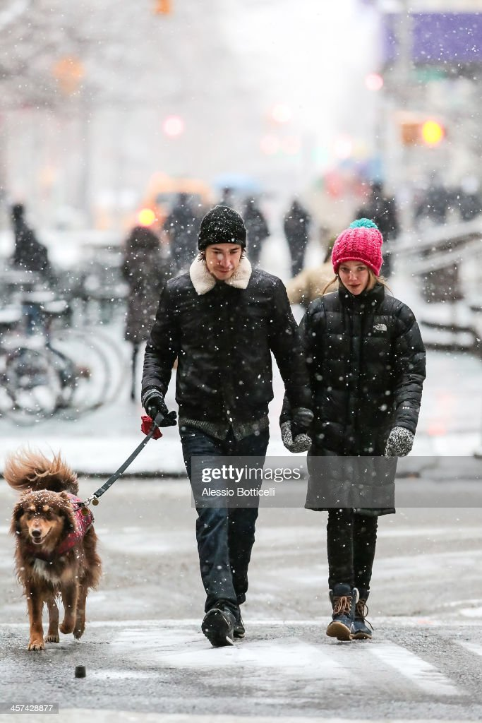 Amanda Seyfried and Justin Long walk their dog Finn on December 17, 2013 in New York City.