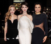 Amanda Seyfried Anne Hathaway and Samantha Barks attend the World Premiere of 'Les Miserables' at Odeon Leicester Square on December 5 2012 in London...