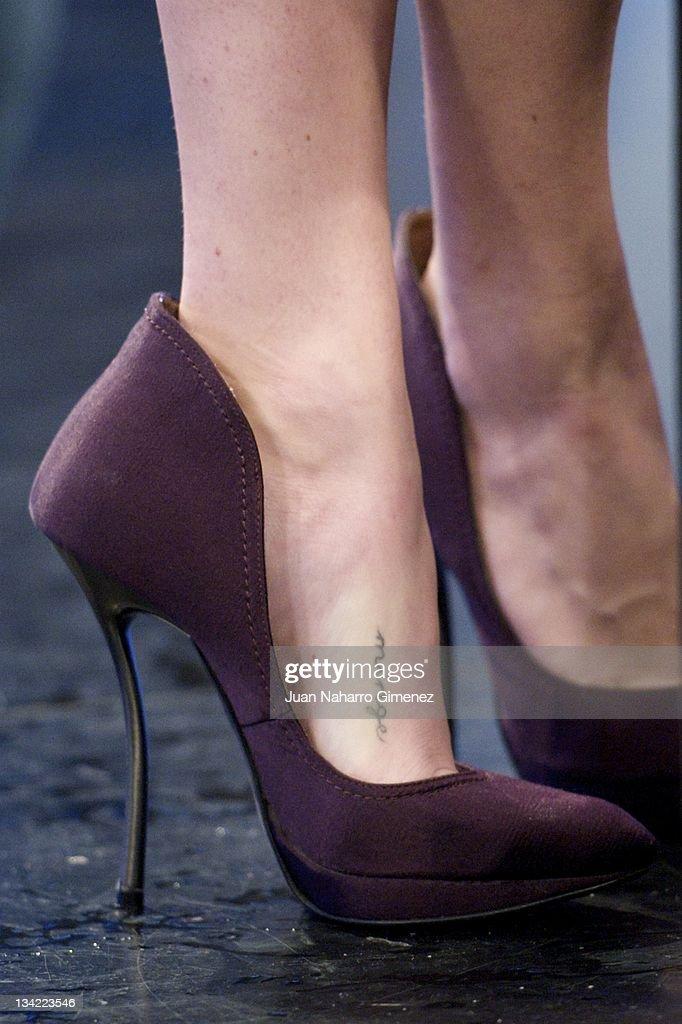 Amanda Seyfried (shoe detail) attends 'El Hormiguero' TV show at Vertice Studio on November 28, 2011 in Madrid, Spain.