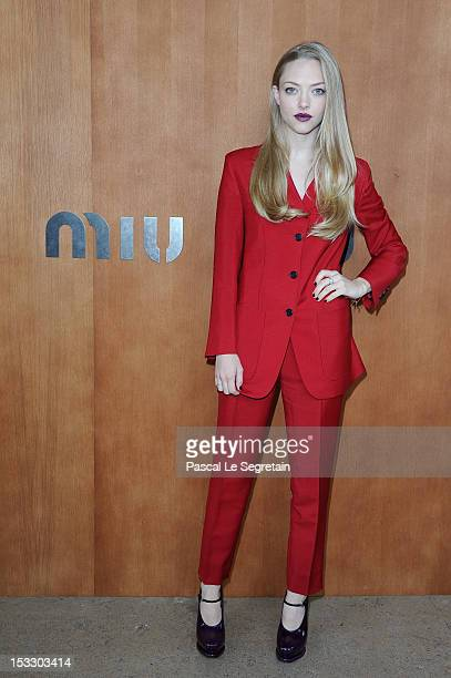 Amanda Seyfried attends the Miu Miu Spring/Summer 2013 show as part of Paris Fashion Week on October 3 2012 in Paris France
