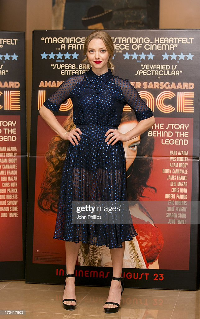 <a gi-track='captionPersonalityLinkClicked' href=/galleries/search?phrase=Amanda+Seyfried&family=editorial&specificpeople=216619 ng-click='$event.stopPropagation()'>Amanda Seyfried</a> attends the special screening of 'Lovelace' at The Mayfair Hotel on August 12, 2013 in London, England.