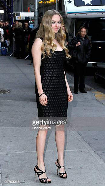 Amanda Seyfried leaves the 'Late Show With David Letterman' at the Ed Sullivan Theater on March 1 2011 in New York City