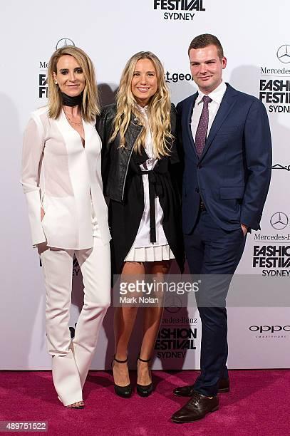 Amanda Shadforth Steph Skovdal and Gareth Beck arrives ahead of MercedesBenz Fashion Festival Sydney 2015 opening night at Sydney Town Hall on...