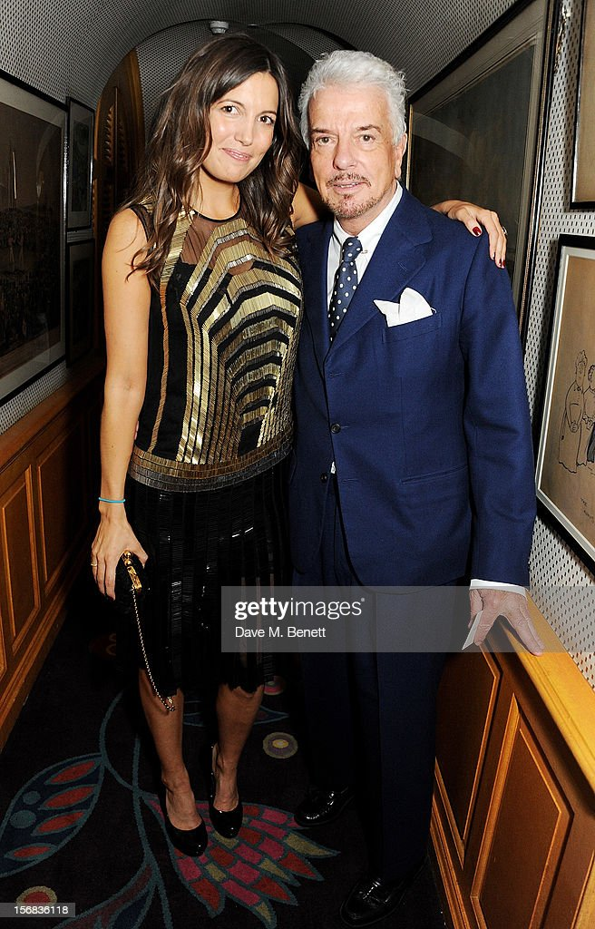 Amanda Sheppard (L) and Nicky Haslam attend a launch hosted by The Vinyl Factory of Bryan Ferry's new album 'The Jazz Age' at Annabelson November 22, 2012 in London, England.