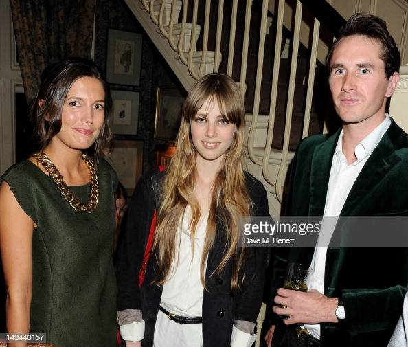 Amanda Sheppard Edie Campbell and Otis Ferry attend the Johnnie Walker Blue Label dinner at Mark's Club on April 26 2012 in London England