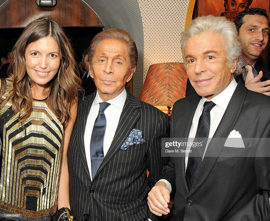 (L to R) Amanda Sheppard, Valentino Garavani and Giancarlo Giammetti attend a launch hosted by The Vinyl Factory of Bryan Ferry's new album 'The Jazz Age' at Annabelson November 22, 2012 in London, England.