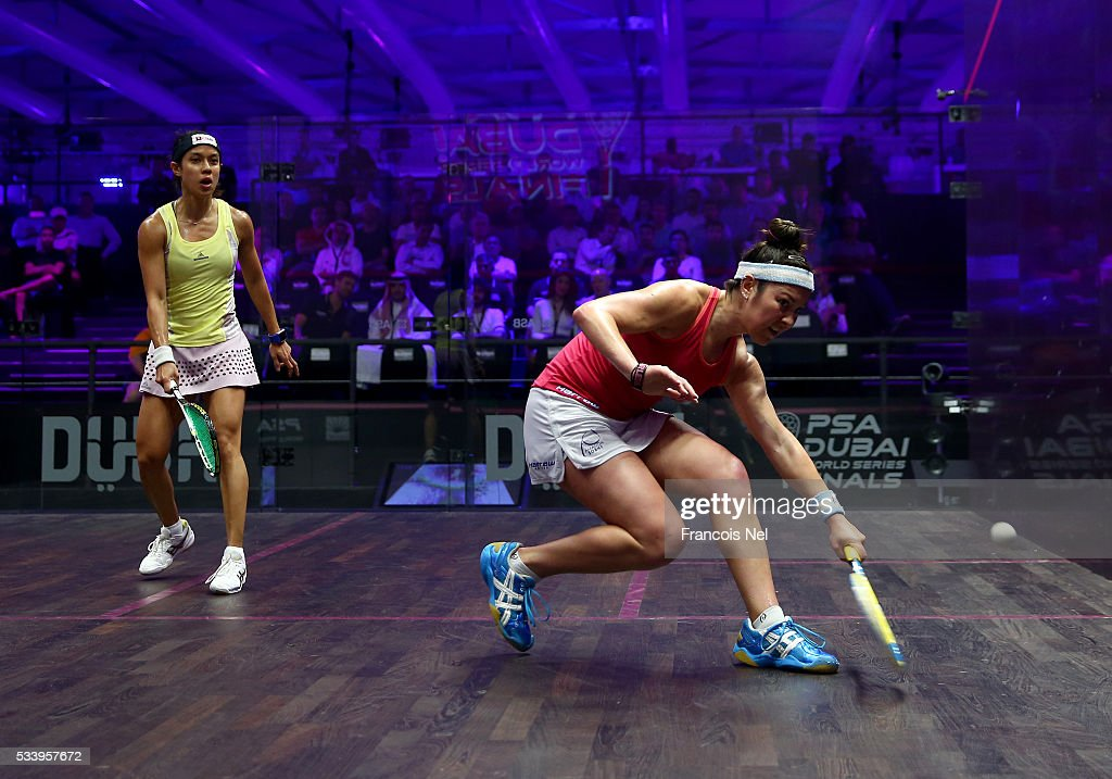 Amanda Sobhy of the USA and Nicol Davids of Malaysia competes during day one of the PSA Dubai World Series Finals 2016 at Burj Park on May 24, 2016 in Dubai, United Arab Emirates.
