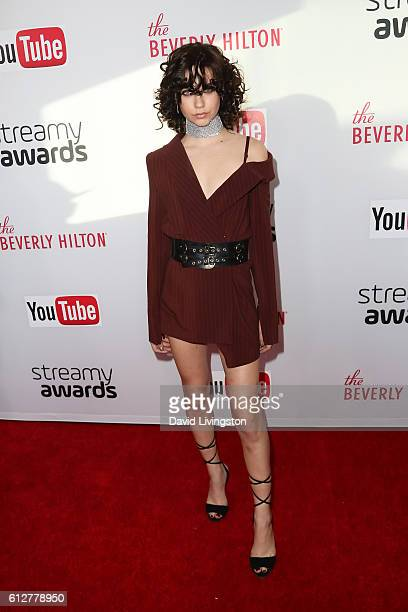 Amanda Steele arrives at the 2016 Streamy Awards at The Beverly Hilton Hotel on October 4 2016 in Beverly Hills California