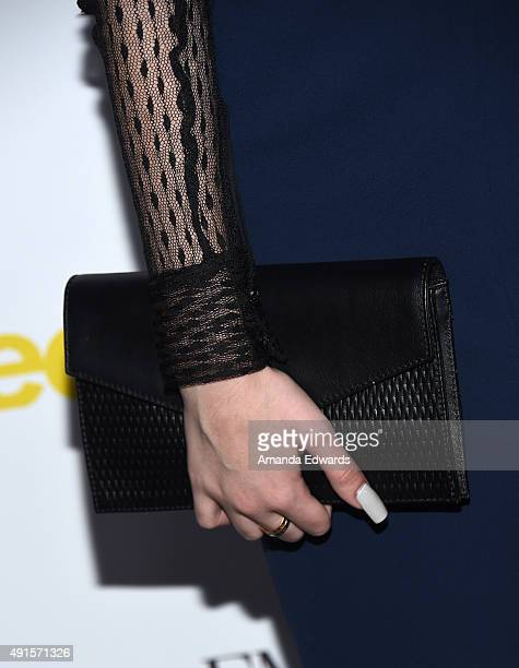Amanda Steele clutch detail arrives at Teen Vogue's 13th Annual Young Hollywood Issue Launch Party on October 2 2015 in Los Angeles California