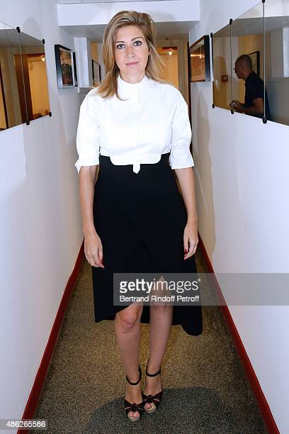 Amanda Sthers wearing a dress from Vanessa Bruno Couture presents her book 'Les Promesses' during the 'Vivement Dimanche' French TV Show Held at...