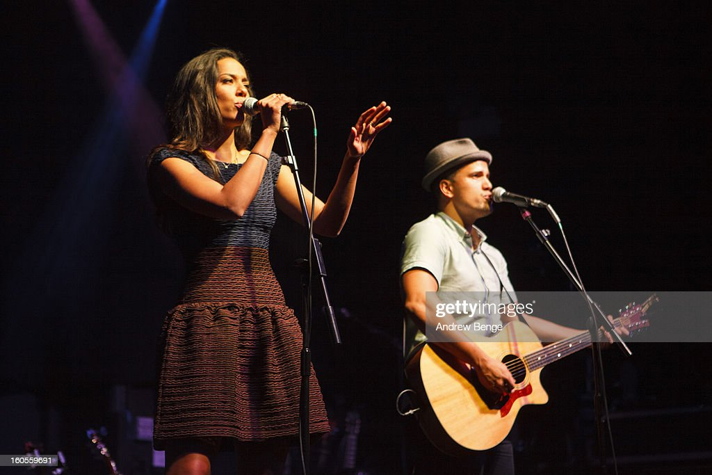 Amanda Sudano and Abner Ramirez of Johnnyswim performs on stage at HMV Ritz on February 2, 2013 in Manchester, England.