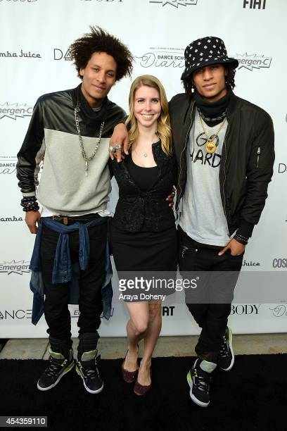 Amanda Taylor and Les Twins attend the YouTube channel DanceOn presents Spotlight The Ultimate Dance Experience at Los Angeles Convention Center on...