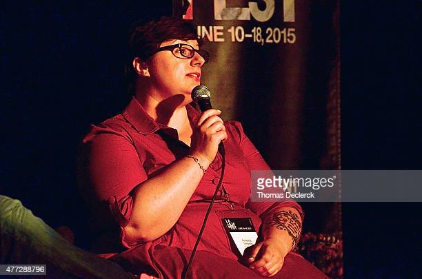 Amanda Timpson Executive in Charge of Production at BunimMurray Productions speaks onstage at the UN Panel during the 2015 Los Angeles Film Festival...