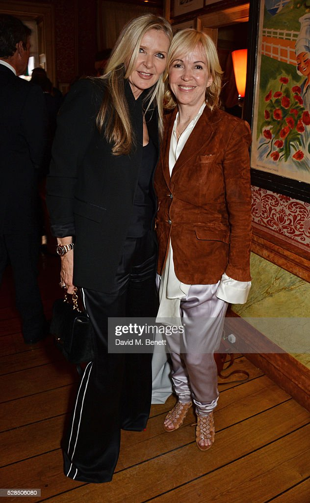 Amanda Wakeley (L) and Sally Greene attend the launch of Dame Joan Collins' new book 'The St. Tropez Lonely Hearts Club' at Harry's Bar on May 5, 2016 in London, England.