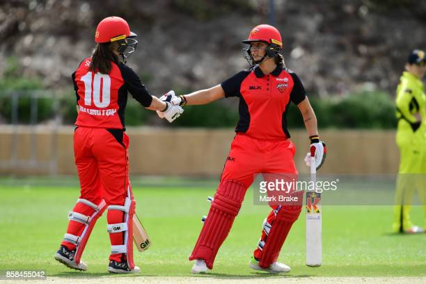 Amanda Wellington and Ashleigh Gardner during the WNCL match between South Australia and Western Australia at Adelaide Oval No2 on October 6 2017 in...