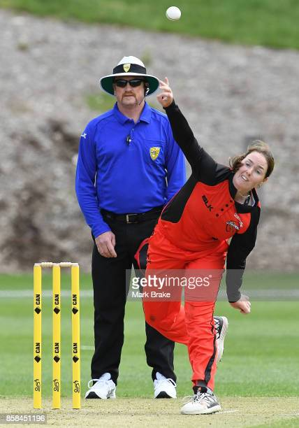 Amanda Wellington bowling during the WNCL match between South Australia and Western Australia at Adelaide Oval No2 on October 6 2017 in Adelaide...