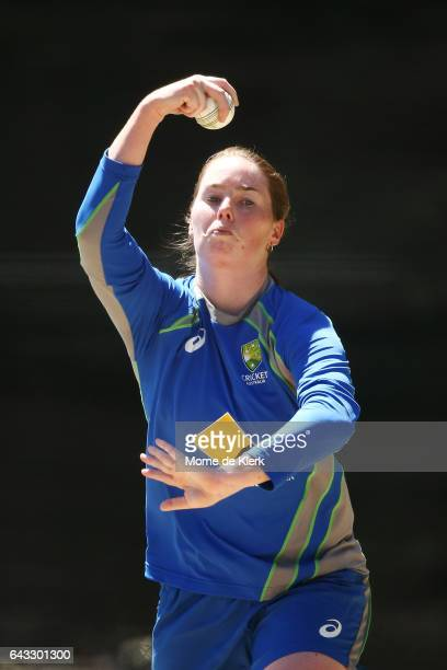 Amanda Wellington of Australia bowls during a Southern Stars training session at Adelaide Oval on February 21 2017 in Adelaide Australia