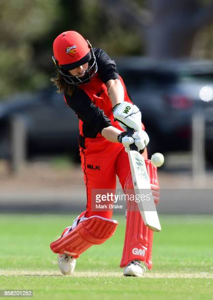 Amanda Wellington on her way to century during the WNCL match between South Australia and Western Australia at Adelaide Oval No2 on October 6 2017 in...