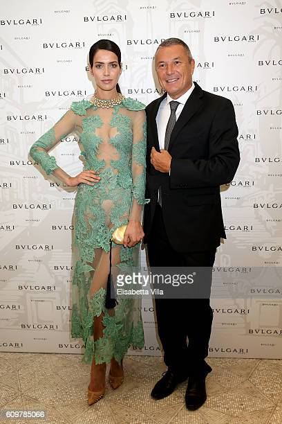 Amanda Wellsh and Bvlgari CEO JeanChristophe Babin attend the Bvlgari Tribute To Spanish Steps Opening Event on September 22 2016 in Rome Italy