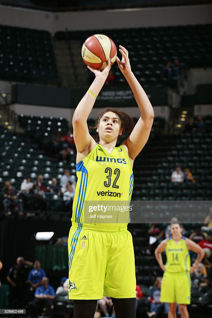 Amanda Zahui B #32 of Dallas Wings shoots a free throw against the Indiana Fever during a preseason game on May 1, 2016 at Bankers Life Fieldhouse in Indianapolis, Indiana.